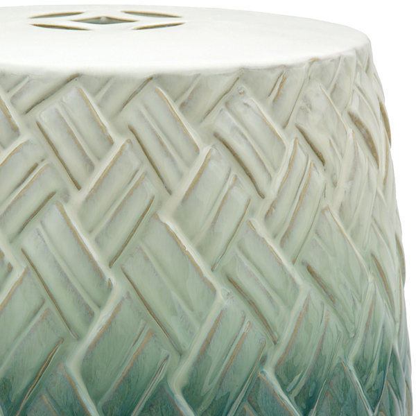 Oriental Furniture Carved Woven Design Porcelain Patio Garden Stool