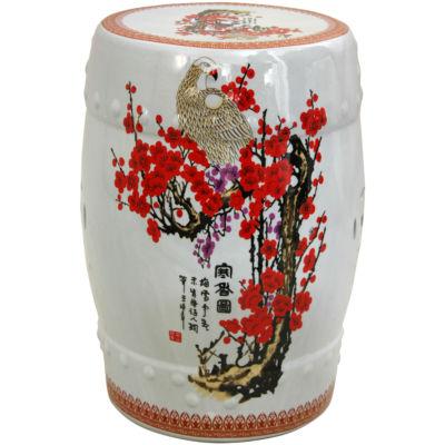 Oriental Furniture Cherry Blossom Porcelain PatioGarden Stool