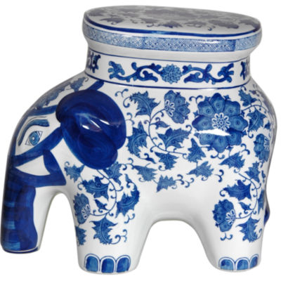 Oriental Furniture Floral Porcelain Elephant Stool