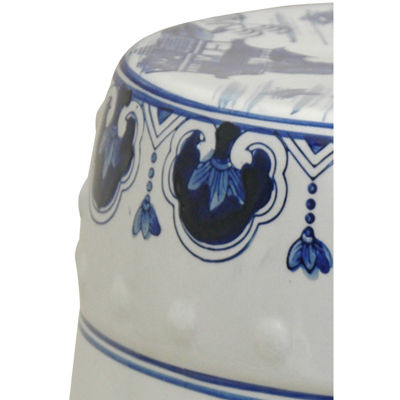 Oriental Furniture Landscape Porcelain Patio Garden Stool
