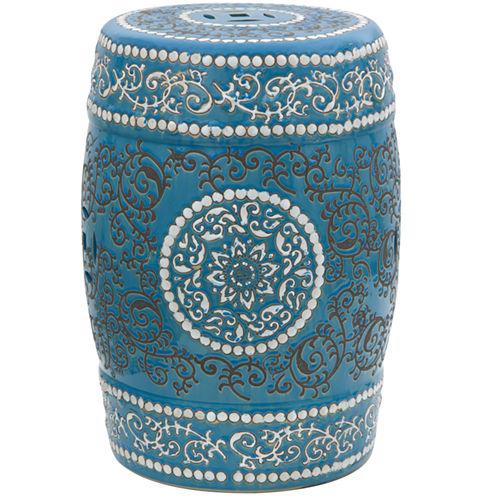 Oriental Furniture Medallion Porcelain Patio Garden Stool
