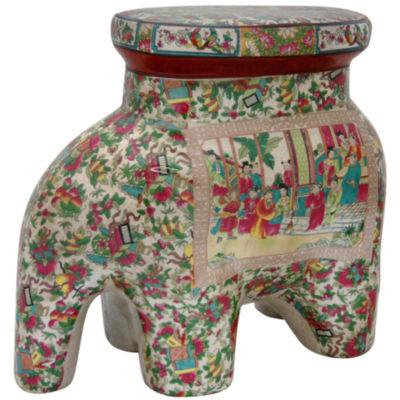 Oriental Furniture Rose Medallion Porcelain Elephant Stool