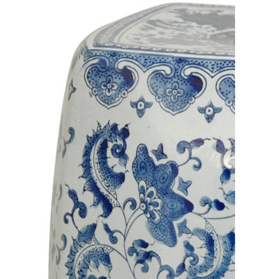 Oriental Furniture Square Floral Porcelain Patio Garden Stool