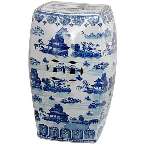 Oriental Furniture Square Landscape Porcelain Patio Garden Stool