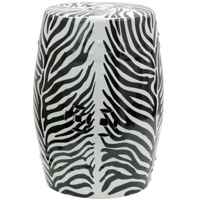 Oriental Furniture Zebra Leaf Porcelain Patio Garden Stool