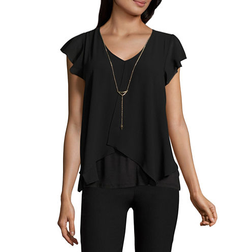 by&by Short Sleeve V Neck Georgette Blouse-Juniors