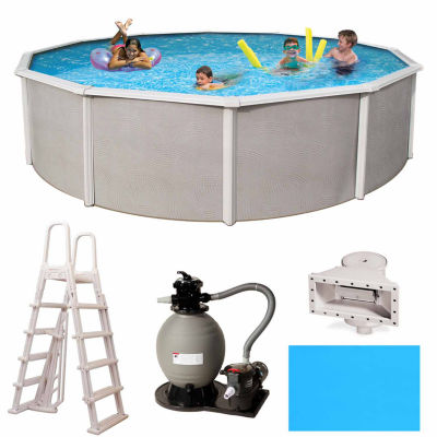 Blue Wave Barcelona Complete 24-ft Round 52-in Deep Metal Wall Pool Pkg