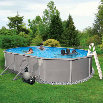 Blue Wave Barcelona Complete 18-ft x 33-ft Oval 52-in Deep Metal Wall Pool Pkg