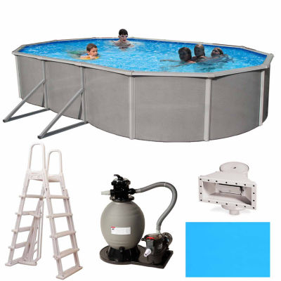 Blue Wave Barcelona Complete 21-ft x 41-ft Oval 52-in Deep Metal Wall Pool Pkg