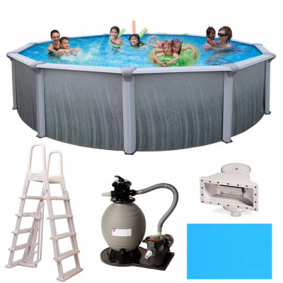 Blue Wave Madagascar Complete 21-ft Round 52-in Deep Metal Wall Pool Pkg