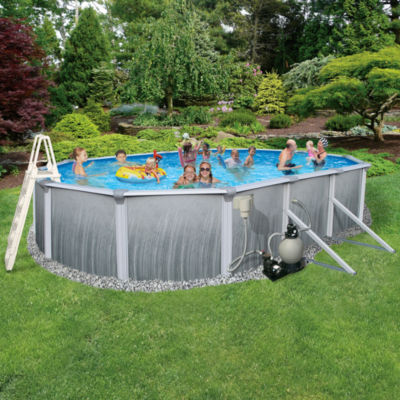 Blue Wave Madagascar Complete 12-ft x 24-ft Oval 52-in Deep Metal Wall Pool Pkg
