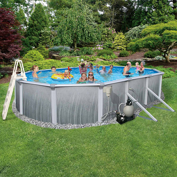Blue Wave Madagascar Complete 21-ft x 41-ft Oval 52-in Deep Metal Wall Pool Pkg