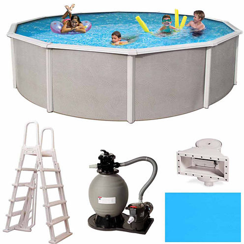 Blue Wave Barcelona Complete 15-ft Round 48-in Deep Metal Wall Pool Pkg