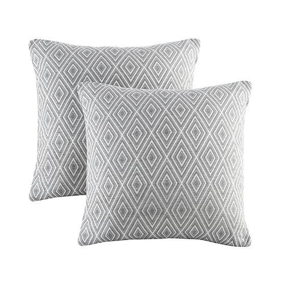 Madison Park Ezra Jacquard Pillow Pair Square Throw Pillow