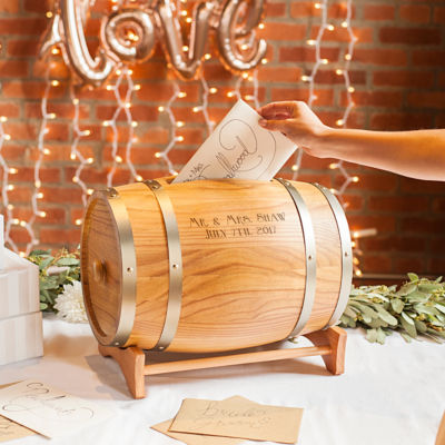 Cathy's Concepts Personalized Wine Barrel Reception Gift Card Holder