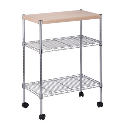 Honey-Can-Do® Chrome Utility Cart with Wood Top