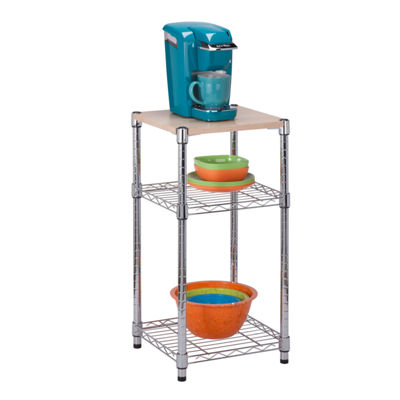 Honey-Can-Do® 3-Tier Chrome & Wood Shelf