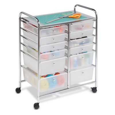 Honey-Can-Do® Rolling Storage Cart and Organizer with 12 Plastic Drawers