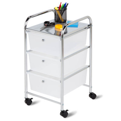 Honey Can Do 3 Drawer Plastic Storage Cart On Wheels