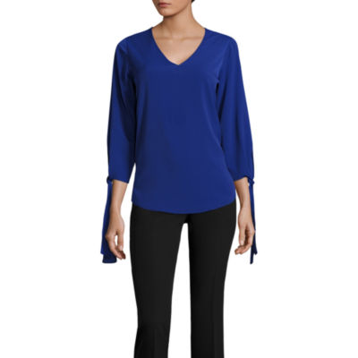 Worthington 3/4 Tie Sleeve Blouse