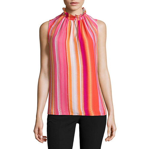 Worthington Sleeveless V Neck Dobby Stripe Blouse
