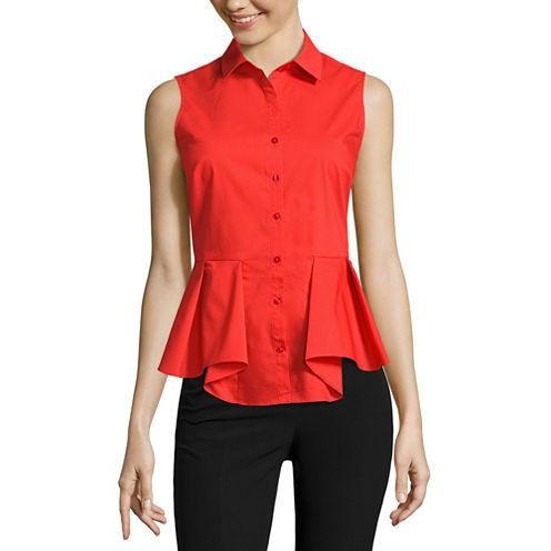 Worthington Sleeveless Stripe Button-Front Shirt