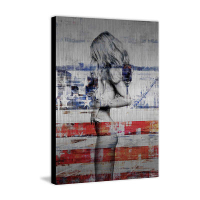 Behind the Stripes Painting Print on Aluminum