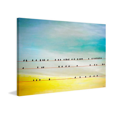 Birds Hangin Painting Print on Wrapped Canvas