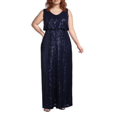 Blu Sage Sleeveless Evening Gown - Plus