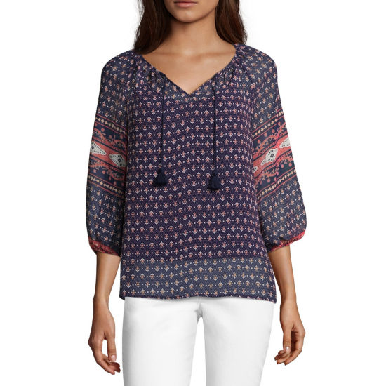 Liz Claiborne 3/4 Sleeve Peasant Top - Tall