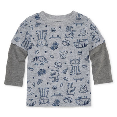 Okie Dokie Long Sleeve Doubler Graphic T-Shirt - Baby Boy NB-24M