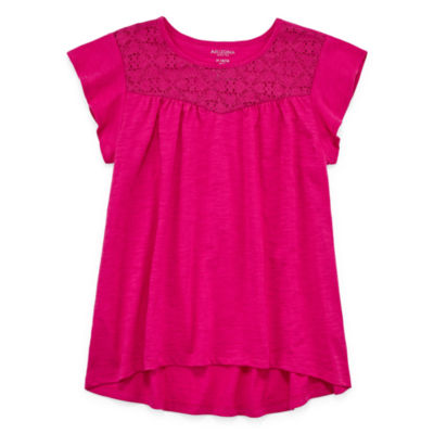 Arizona Short Sleeve Lace Inset Top - Girls' 4-16 and Plus