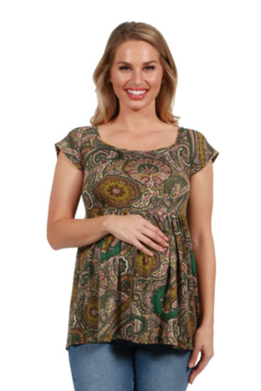 24Seven Comfort Apparel Marlowe Green Paisley Short Sleeve Maternity Tunic Top