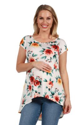 24Seven Comfort Apparel Jenna White Floral Hi Lo Maternity Tunic Top
