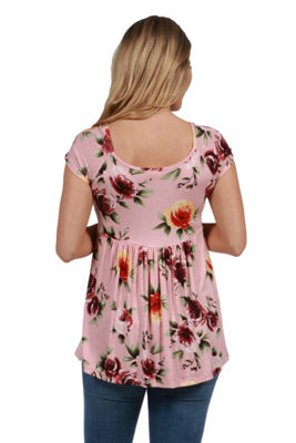 24Seven Comfort Apparel Marina Pink Floral Maternity Tunic Top