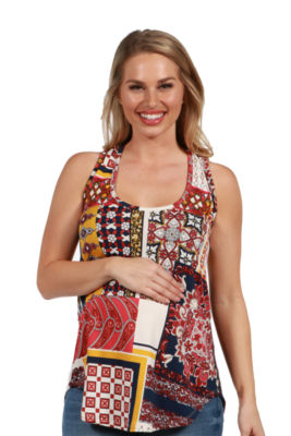 24/7 Comfort Apparel Evie Red Patchwork Sleeveless Maternity Tunic Top