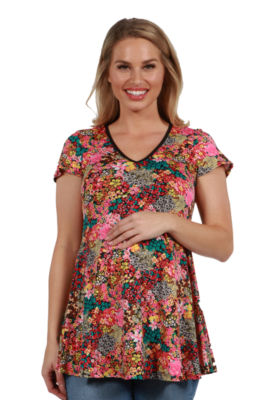 24Seven Comfort Apparel Coco Multicolor MaternityTunic Top