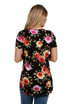24Seven Comfort Apparel Meg Black Floral MaternityTunic Top