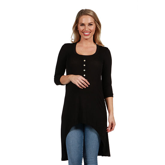 24/7 Comfort Apparel Laila Henley Style MaternityTunic Top
