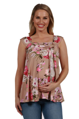 24Seven Comfort Apparel Britt Brown and Pink Floral Wrap Maternity Tunic Top