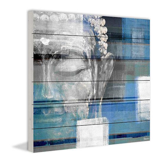 Blue Buddha Painting Print on White Wood