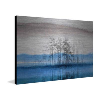 Blue Lake Horizon Painting Print on Aluminum