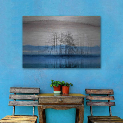 Blue Lake Horizon Painting Print on Aluminum
