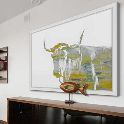Yellow Steer Framed Painting Print