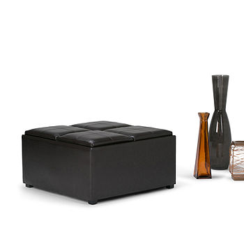 Sensational Avalon Coffee Table Storage Ottoman With 4 Servingtrays Machost Co Dining Chair Design Ideas Machostcouk