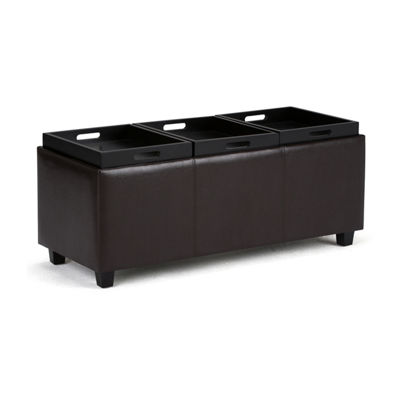 Avalon Extra Large Storage Ottoman With 3 ServingTrays