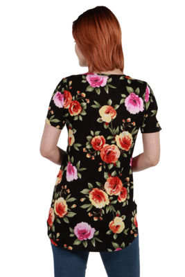 24Seven Comfort Apparel Meg Black Floral Tunic Top