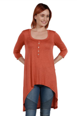 24/7 Comfort Apparel Laila Henley Neckline Tunic Top