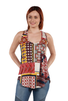 24Seven Comfort Apparel Evie Red Patchwork Sleeveless Tunic Top
