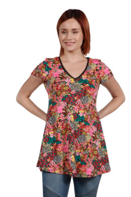 24Seven Comfort Apparel Coco Pink Multicolor Tunic Top
